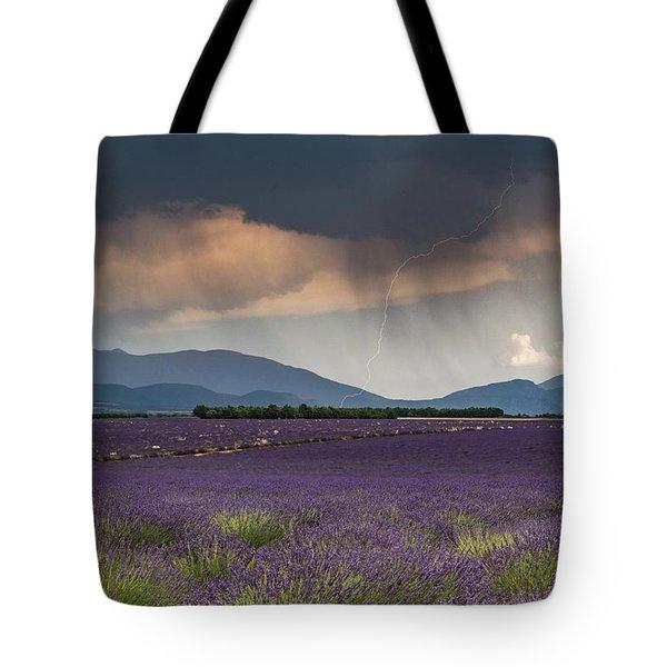 Lightning Over Lavender Field Tote Bag