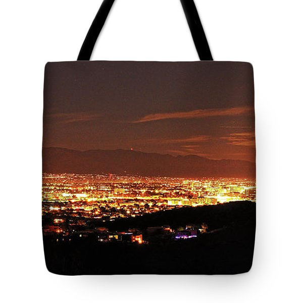Lights Of Tucson And Moonrise Tote Bag