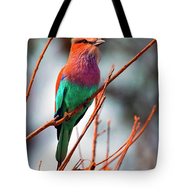 Tote Bag featuring the photograph Lilac Breasted Roller by John Rodrigues