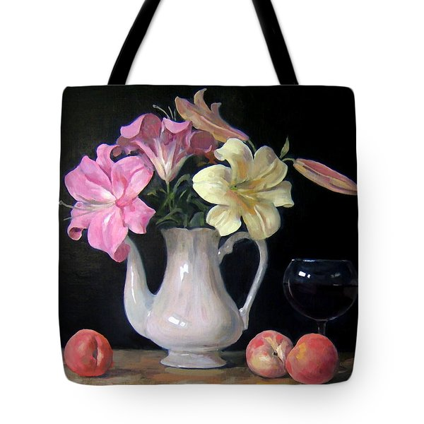 Lilies And Peaches Tote Bag