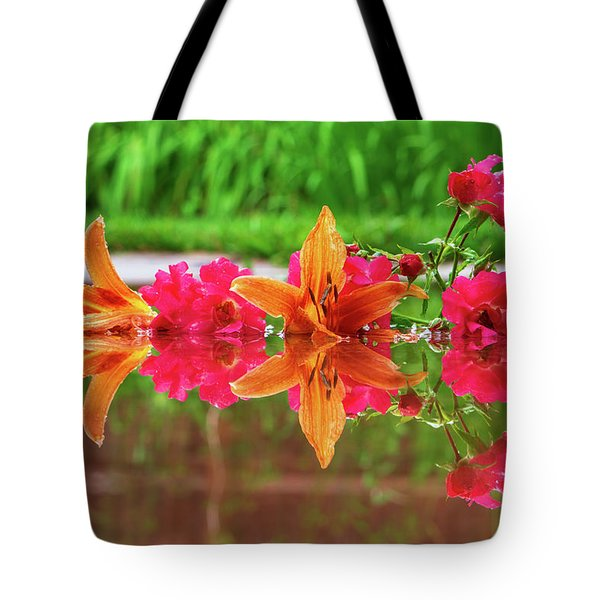 Lilies And Roses Reflection Tote Bag