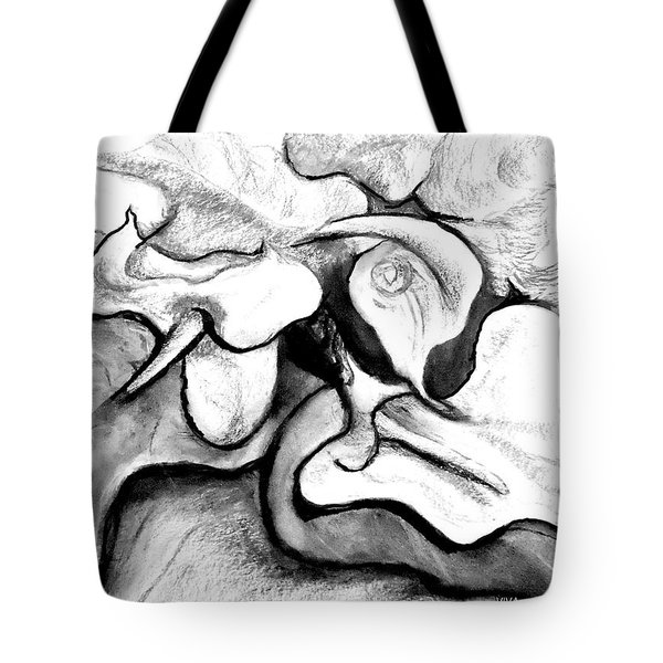 Tote Bag featuring the drawing Lilies Original Drawing by VIVA Anderson