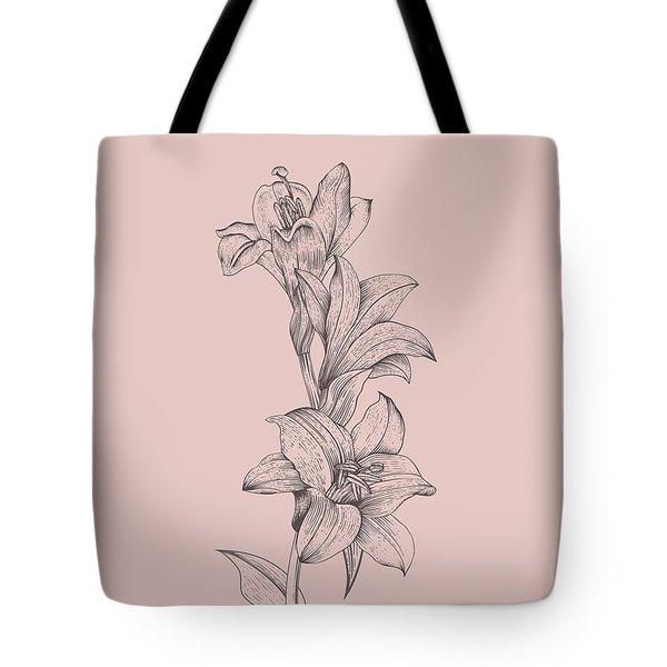 Lily Blush Pink  Flower Tote Bag