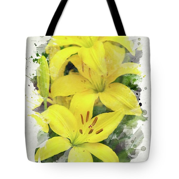 Lily Watercolor Art Tote Bag