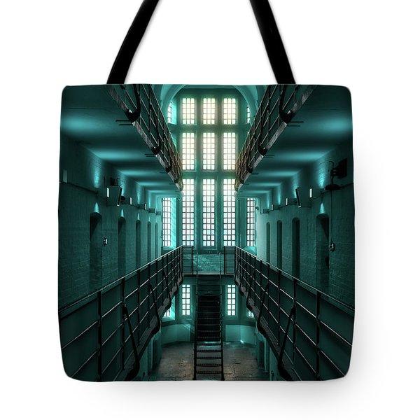 Lincoln Castle Prison In Blue Tote Bag