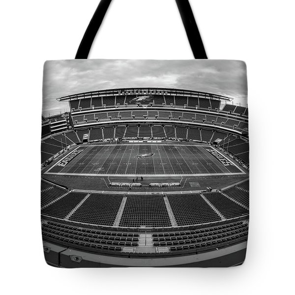 Lincoln Financial Field Black And White Tote Bag