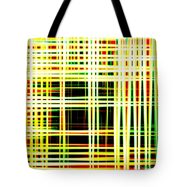 Lines And Squares In Color Waves - Plb418 Tote Bag