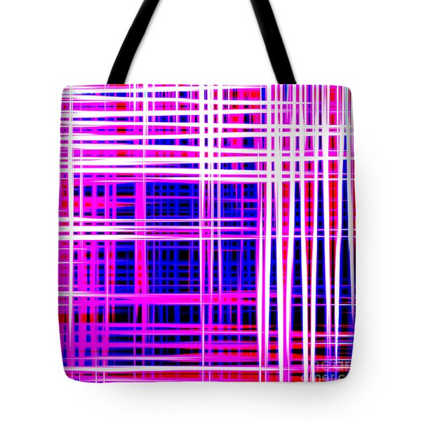 lines and squares in purple Color Waves - PL414 Tote Bag