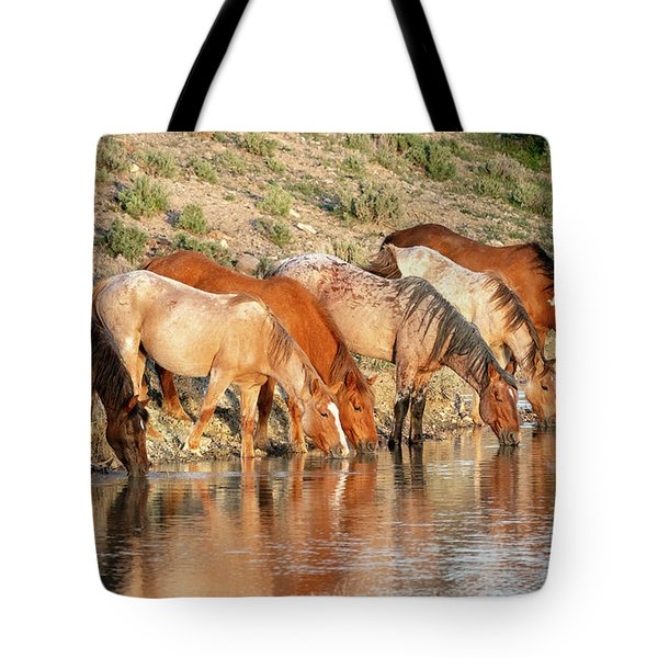 Lineup At The Pond-- Wild Horses Tote Bag