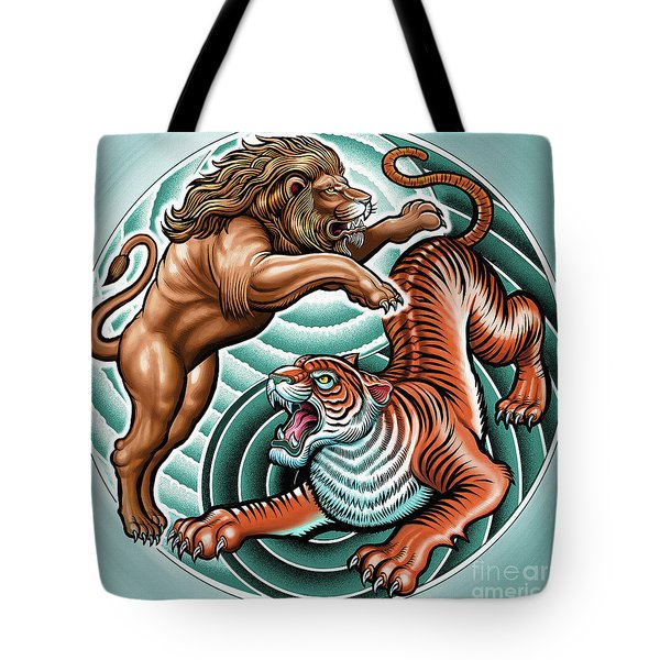 Lion And Tiger  Tote Bag