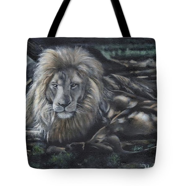 Lion In Dappled Shade Tote Bag