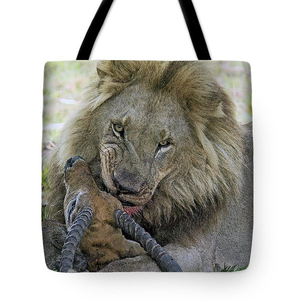 Tote Bag featuring the digital art Lion Prey by Larry Linton