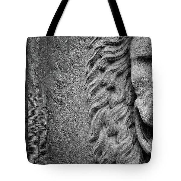 Lion Statue Portrait Tote Bag