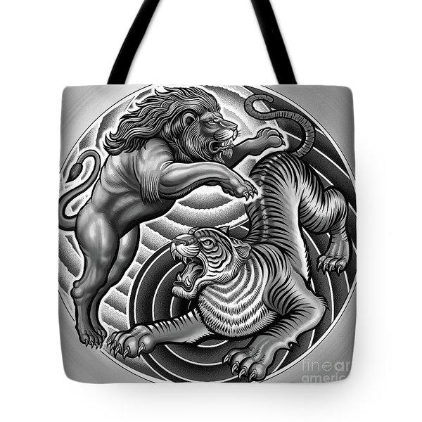 Lion Tiger Fight  Tote Bag
