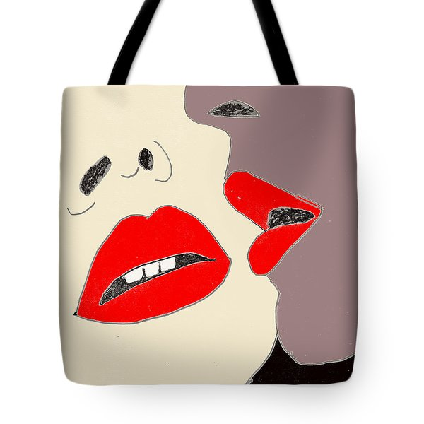Tote Bag featuring the drawing Lips by W And F Kreations