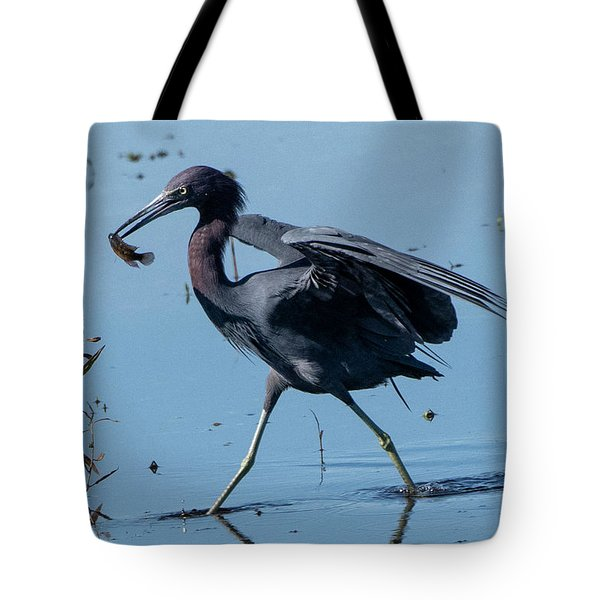 Little Blue Heron With Fish Tote Bag