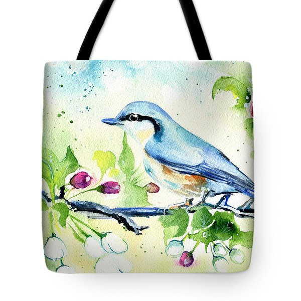 Little Blue Spring Bird Tote Bag