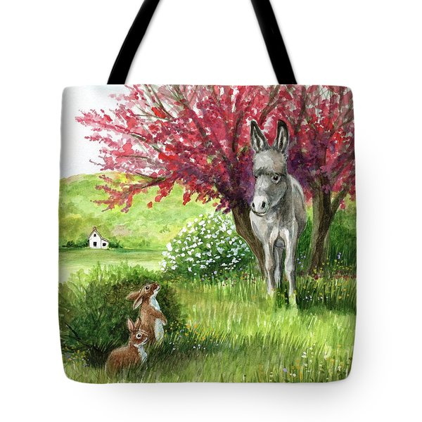 Little Long Ears/ Rabbits And Donkey Tote Bag