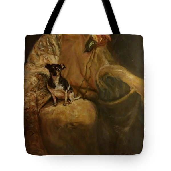 Tote Bag featuring the painting Little Miss Margo by J Reynolds Dail