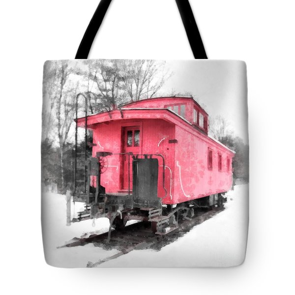 Little Red Caboose Watercolor Tote Bag