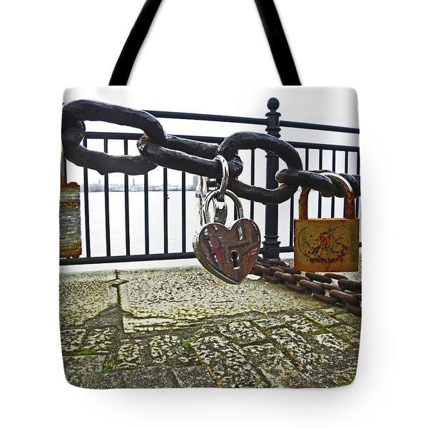 Liverpool. The Albert Dock. Eternal Love. Tote Bag