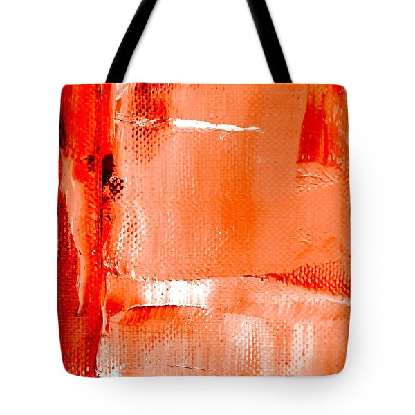 Tote Bag featuring the painting Living Coral Spectrum Abstract by VIVA Anderson