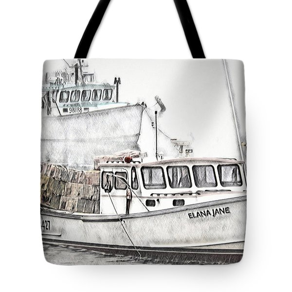 Tote Bag featuring the digital art Lobster Boat - Mount Desert Island by Pennie McCracken