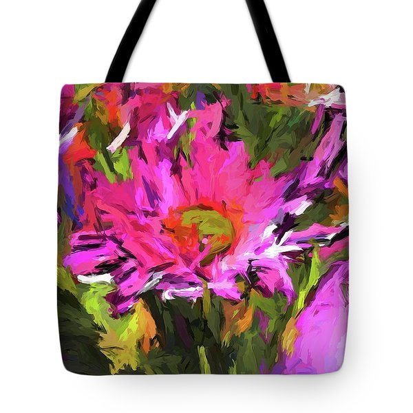 Lolly Pink Daisy Flower Tote Bag