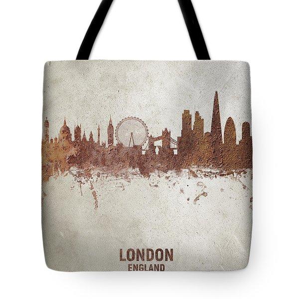 London England Rust Skyline Tote Bag