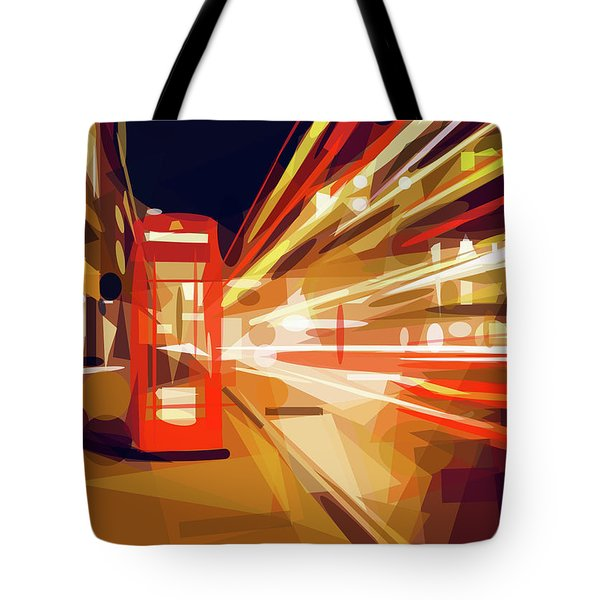 Tote Bag featuring the digital art London Phone Box by ISAW Company