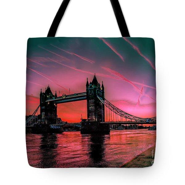 London Tower Bridge Sunrise Pano Tote Bag