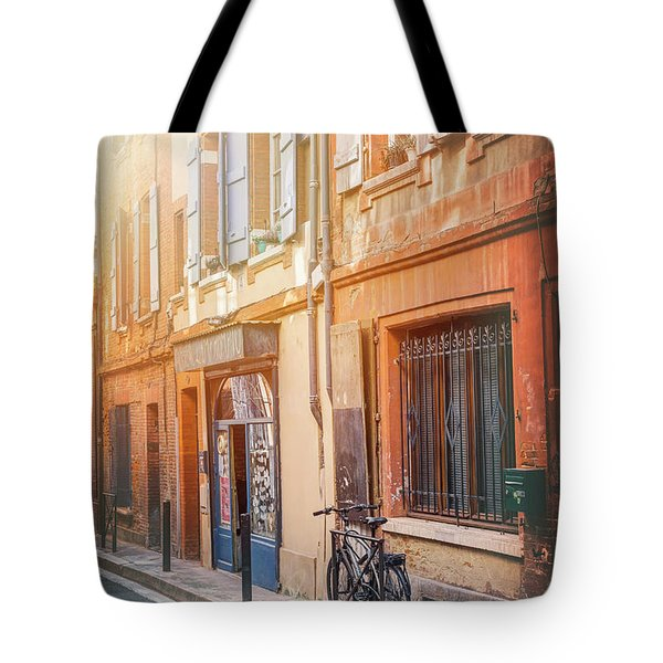 Lone Bicycle In The Early Morning Sun Toulouse France  Tote Bag