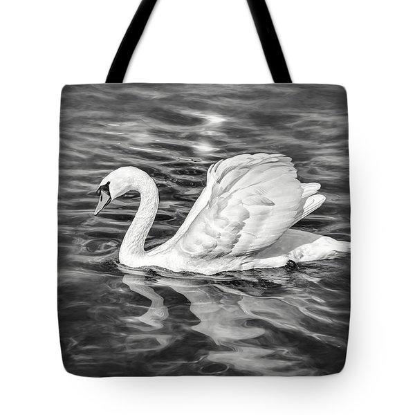 Lone Swan Lake Geneva Switzerland In Black And White Tote Bag