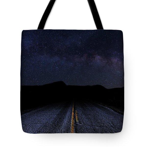 lonely Desert Road on a Starry Desert Night  Tote Bag