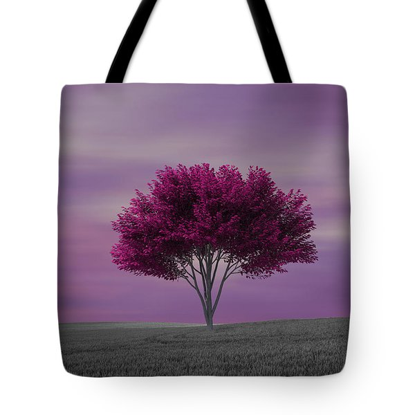 Lonely Tree At Purple Sunset Tote Bag
