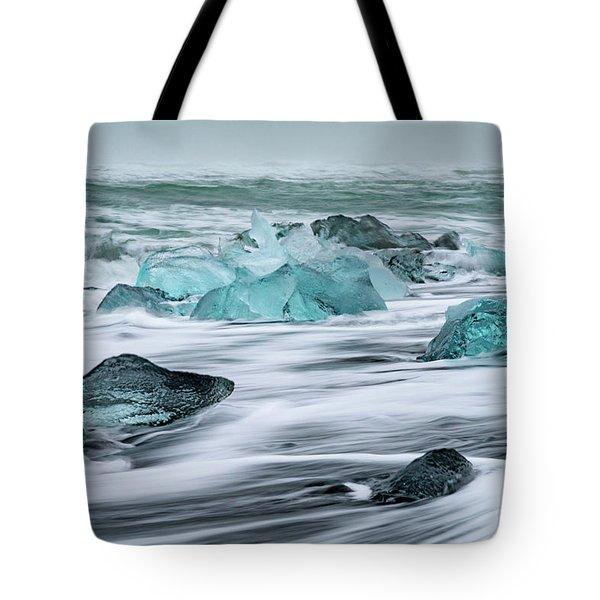 Long Exposure At The Jokulsarlon Ice Beach Tote Bag