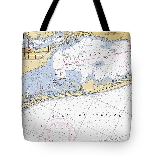 Longboat Ket Florida Noaa Nautical Chart Tote Bag