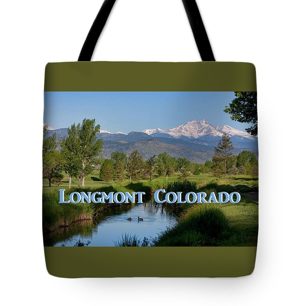 Tote Bag featuring the photograph Longmont Colorado Twin Peaks View Poster by James BO Insogna