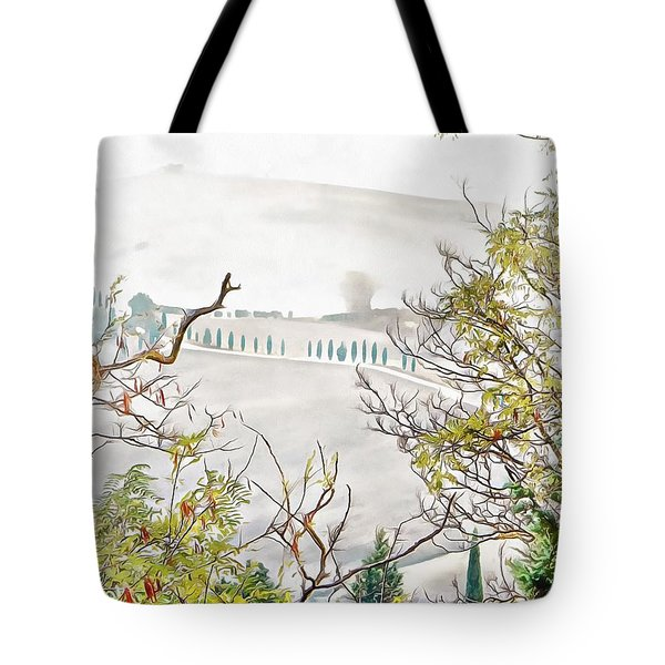 Tote Bag featuring the photograph Look Through Tuscan Autumn Foliage by Dorothy Berry-Lound