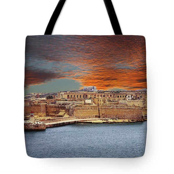 Looking Across Harbor From Fort St Elmo To  Fort Rikasoli Tote Bag