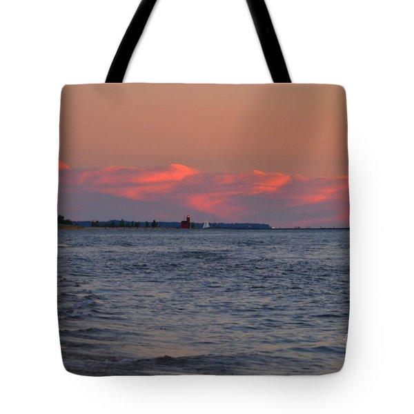 Looking Toward The Holland Lighthouse Tote Bag