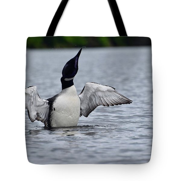 Loon Shaking Off Tote Bag