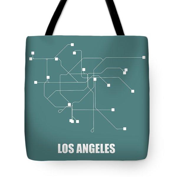 Los Angeles Teal Subway Map Tote Bag
