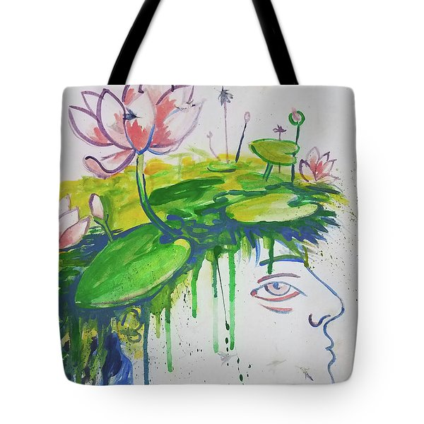 Lotus Head Tote Bag