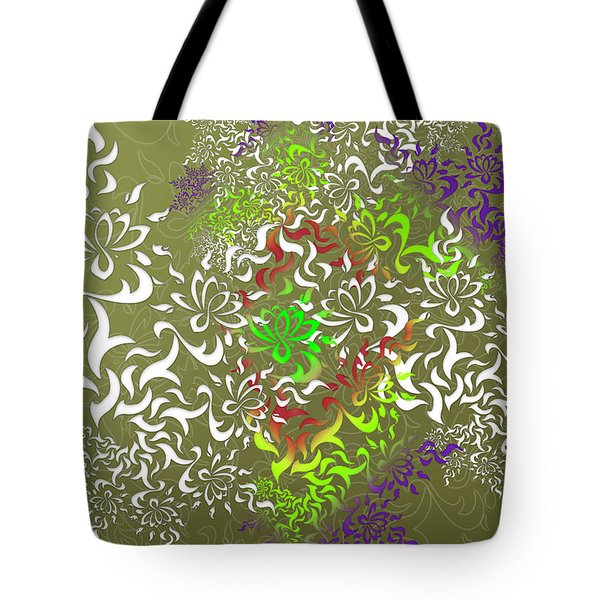 Tote Bag featuring the digital art Lotus Remix by Vitaly Mishurovsky
