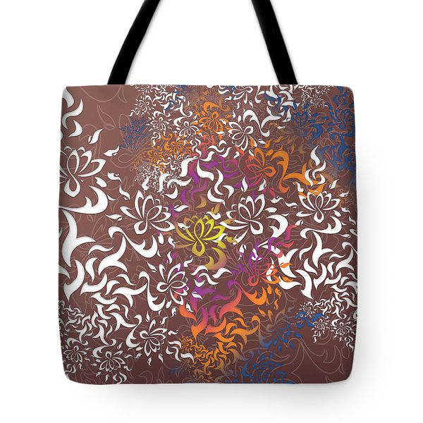 Tote Bag featuring the digital art Lotus by Vitaly Mishurovsky