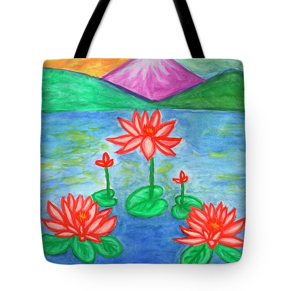 Tote Bag featuring the painting Lotuses Blooming by Dobrotsvet Art