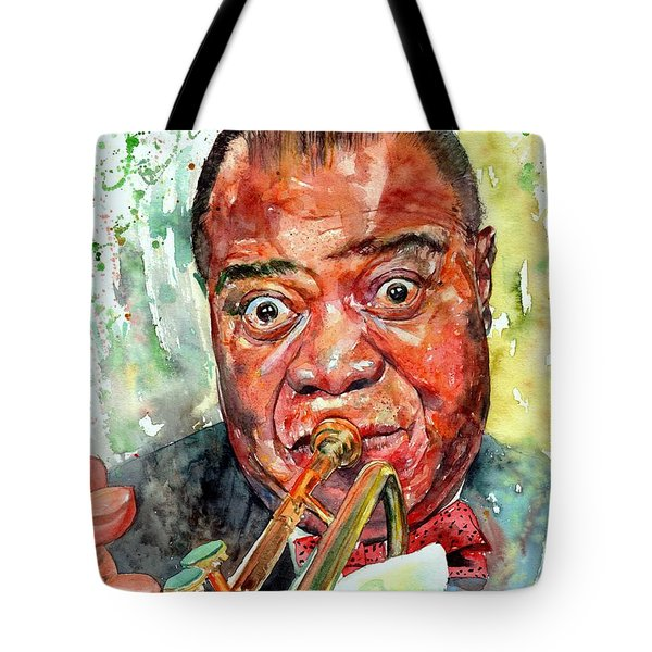 Louis Armstrong Portrait Painting Tote Bag