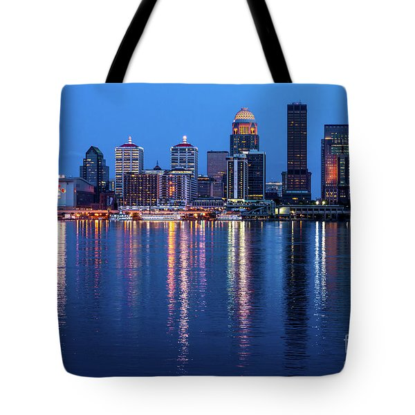 Louisville Kentucky Skyline After Sunset - Ohio River Tote Bag