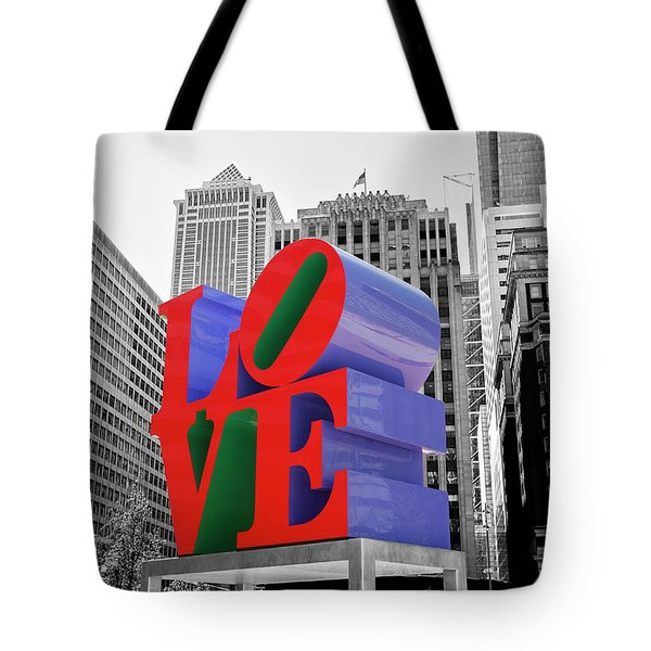 Tote Bag featuring the photograph Love In The City - Philadelphia In Black And White With Selective Color by Bill Cannon